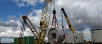 Tunnel boring machine assembly underway