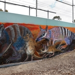 Urban art mural on Bayswater retaining wall - September 2018