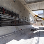 Installing service pipes for the TBMs at Redcliffe Station - February 2019