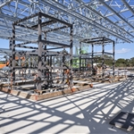 Roof and lift steel frames at Redcliffe Station - September 2020